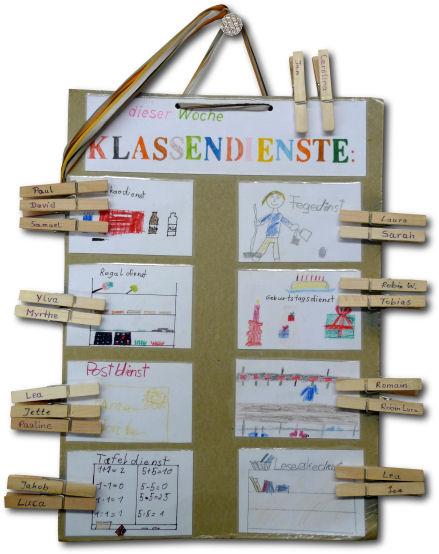 Auf diesem Plan stehen unsere Klassendienste. Fu00fcr jedes ...